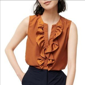 NWT J. Crew Ruffle Front Crepe Blouse